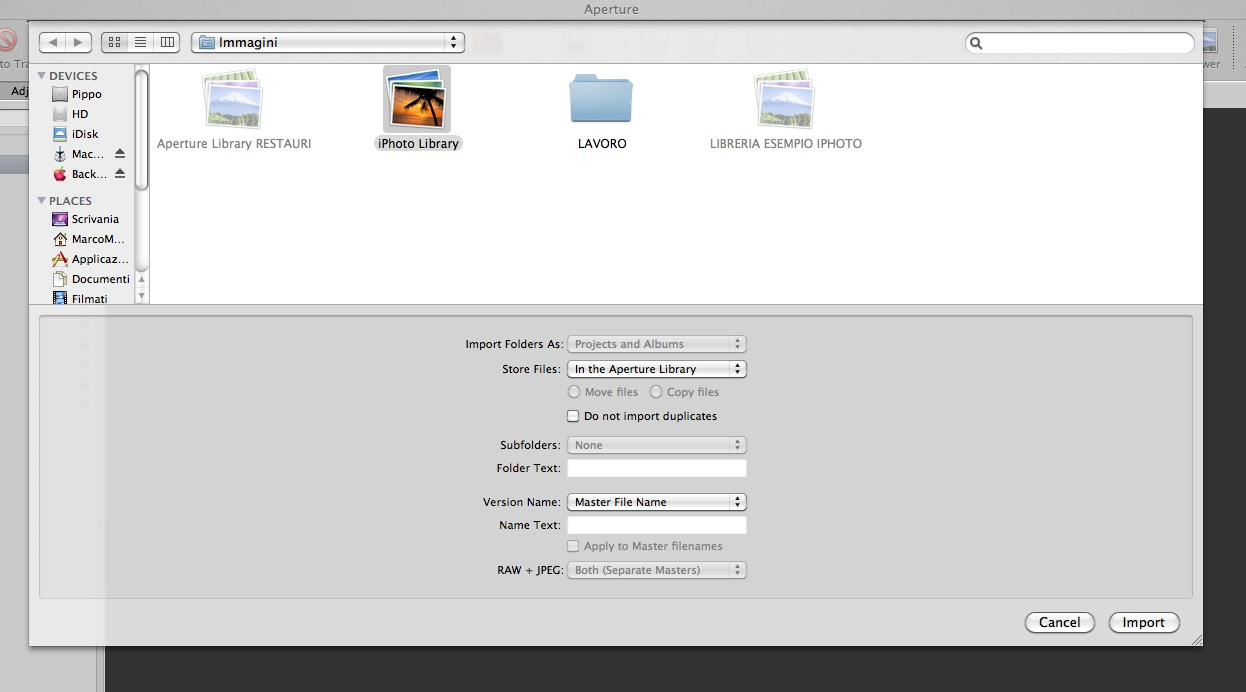 how to open aperture library in iphoto